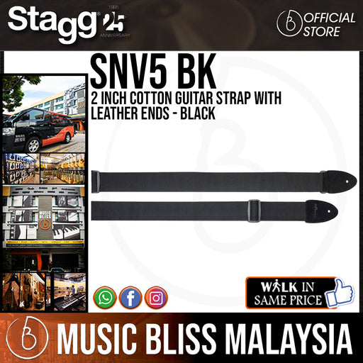 Stagg 2 Inch Cotton Guitar Strap with Leather Ends - Black (SNV5 BK) - Music Bliss Malaysia