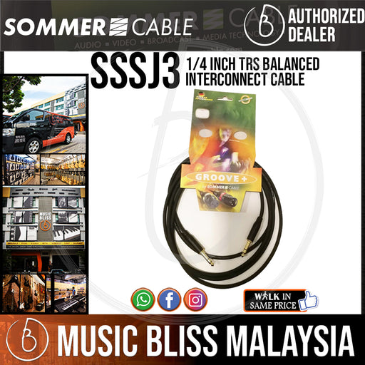 Sommer Stage 22 1/4 inch TRS Balanced Interconnect Cable for Instruments & Effects (3m) - Music Bliss Malaysia