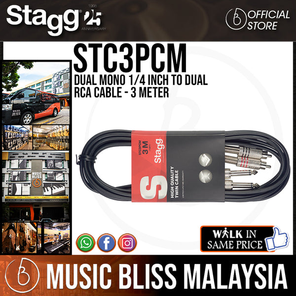 Stagg STC3PCM 3 metre Twin mono jack to RCA phono cable