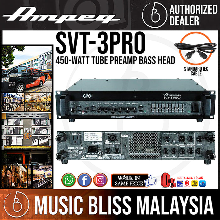 Ampeg SVT-3PRO 450-Watt Tube Preamp Bass Head (SVT3PRO) - Music Bliss Malaysia
