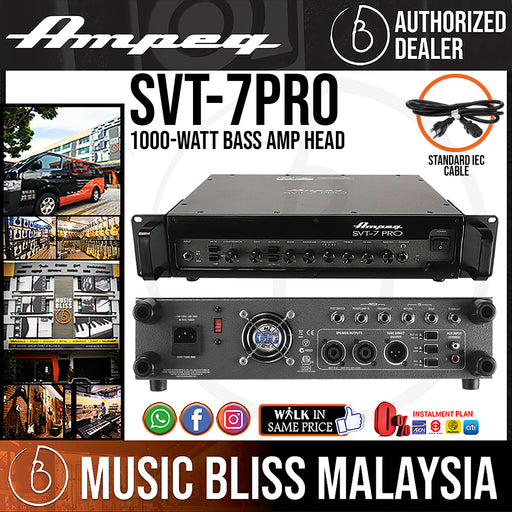 Ampeg SVT-7PRO 1000-Watt Tube Preamp Bass Head (SVT7PRO) - Music Bliss Malaysia