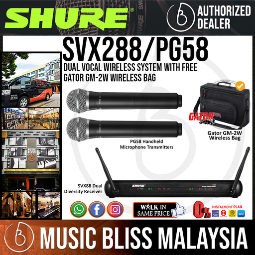 Shure SVX288/PG58 Dual Vocal Wireless System with PG58 Handheld Microphone
