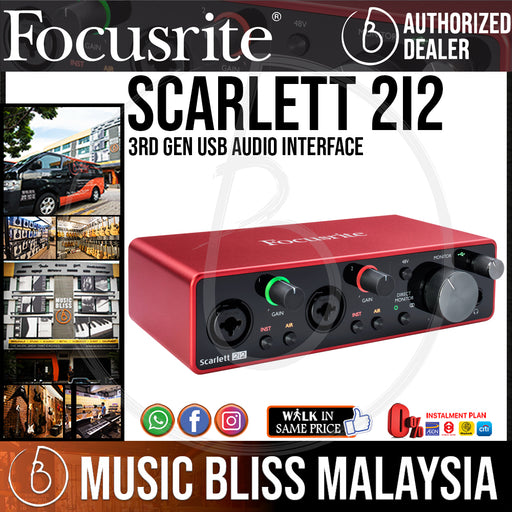 Focusrite Scarlett 2i2 3rd Gen USB Audio Interface - Music Bliss Malaysia