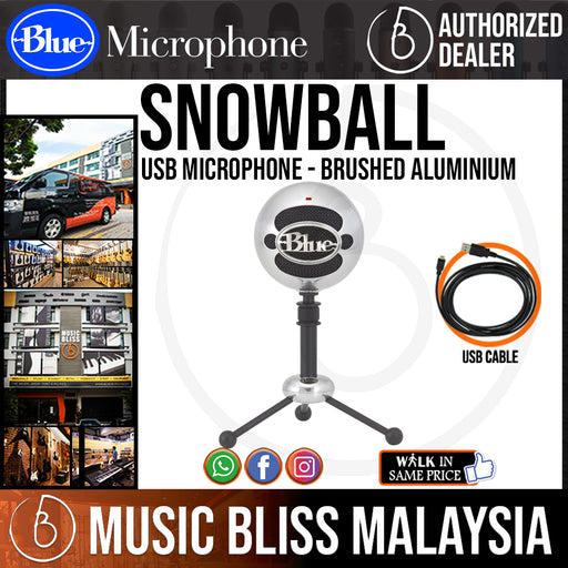 Blue Snowball USB Microphone (Brushed Aluminum) - Music Bliss Malaysia