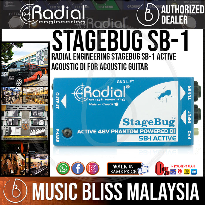 Radial Engineering StageBug SB-1 Active Acoustic DI For Acoustic Guitar (SB 1 / SB1) - Music Bliss Malaysia