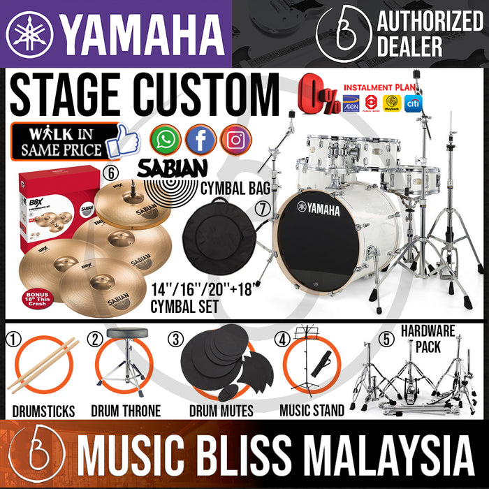 "Yamaha Stage Custom Birch Shell Pack with SABIAN B8X Cymbal Set and Bullet Groove Hardware - 22"" Kick - Music Bliss Malaysia"