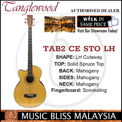 Tanglewood TAB2 CE STO Left-Handed Acoustic Bass Guitar with Solid Spruce Top (TAB2CESTO LH) - Music Bliss Malaysia