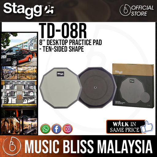 "Stagg 8"" Desktop Practice Pad - Ten-Sided Shape (TD08R / TD 08R) - Music Bliss Malaysia"