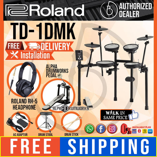 Roland TD-1DMK V-Drums Electronic Basic Drum Set with RH-5 Headphone, Kick Pedal, Throne and Drumsticks (TD1DMK/TD 1DMK) *FREE SHIPPING* - Music Bliss Malaysia