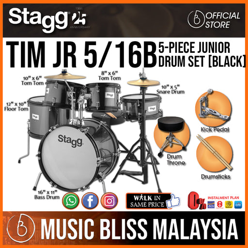 Stagg TIM JR 5/16B BK 5-piece Junior Drum Set with Hardware - Black (TIMJR516BBK) - Music Bliss Malaysia