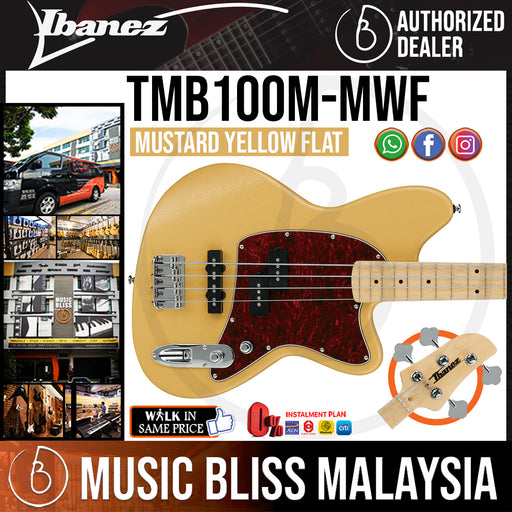 Ibanez TMB100M Bass Guitar - Mustard Yellow Flat (TMB100M-MWF) *Price Match Promotion* - Music Bliss Malaysia