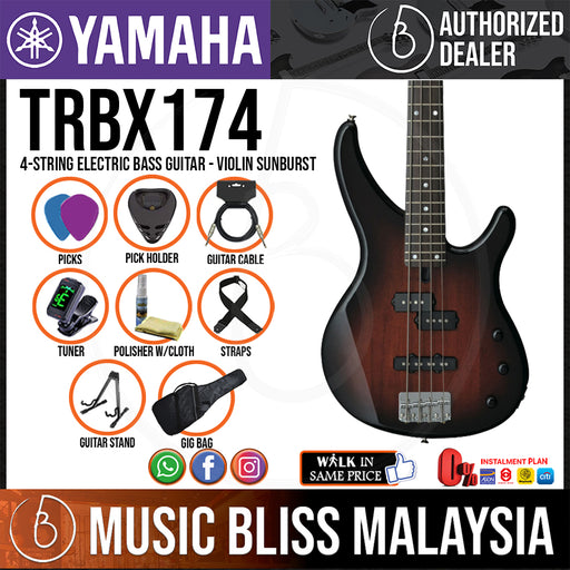 Yamaha TRBX174 4-string Electric Bass Guitar Package - Violin Sunburst (TRBX 174/TRBX-174) *Price Match Promotion* - Music Bliss Malaysia