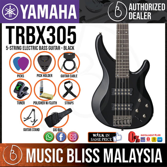 Yamaha TRBX305 5-string Electric Bass Guitar - Black (TRBX 305/TRBX-305) - Music Bliss Malaysia