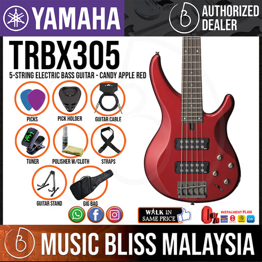 Yamaha TRBX305 5-string Electric Bass Guitar Package - Candy Apple Red (TRBX 305)