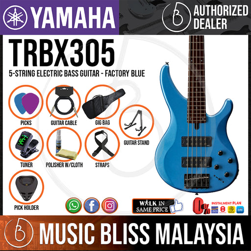 Yamaha TRBX305 5-string Electric Bass Guitar - Factory Blue (TRBX 305/TRBX-305) - Music Bliss Malaysia