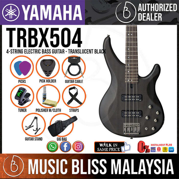 Yamaha TRBX504 4-string Electric Bass Guitar - Translucent Black (TRBX 504/TRBX-504) - Music Bliss Malaysia