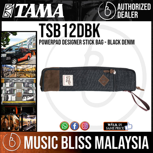 Tama TSB12DBK PowerPad Designer Stick Bag, Black Denim (TSB12)
