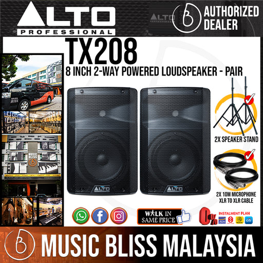 Alto TX208 8 Inch 2-Way Powered Loudspeaker with Stand and Cable - Pair (TX-208) *Crazy Sales Promotion* - Music Bliss Malaysia