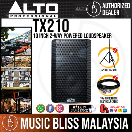 Alto TX210 10 Inch 2-Way Powered Loudspeaker with Stand and Cable (TX-210) *Crazy Sales Promotion* - Music Bliss Malaysia
