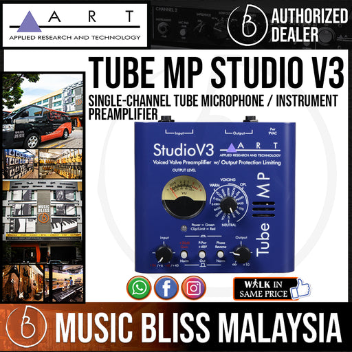 ART Tube MP Studio V3 Single-Channel Tube Microphone / Instrument Preamplifier with Variable Valve Voicing - Music Bliss Malaysia