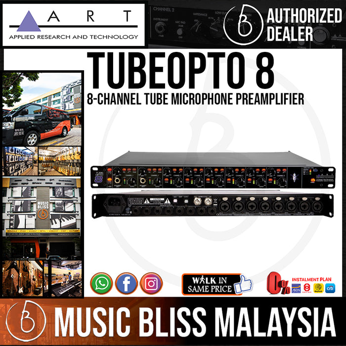 ART TubeOpto 8 8-channel Tube Microphone Preamplifier with Lightpipe (TubeOpto8)