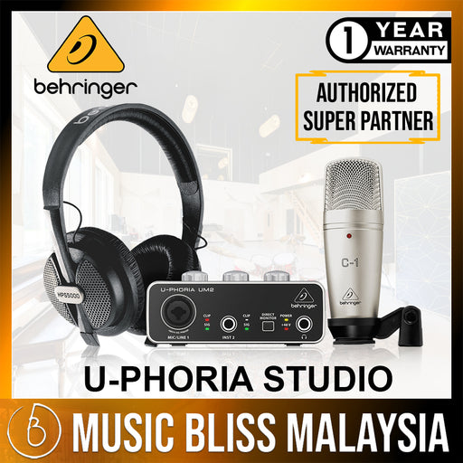 Behringer U-PHORIA STUDIO Complete Recording/Podcasting Bundle with UM-2, C-1 Mic and HPS-5000 (UPHORIA / UM2 / C1 / HPS5000) *Crazy Sales Promotion* - Music Bliss Malaysia