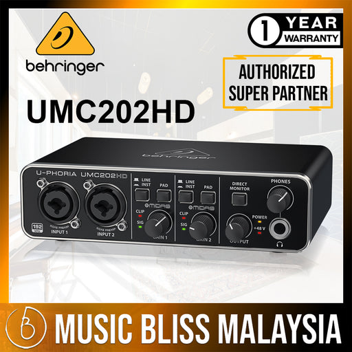 Behringer U-Phoria UMC-202HD USB 2.0 Audio Interface (UMC202HD) *Crazy Sales Promotion* - Music Bliss Malaysia