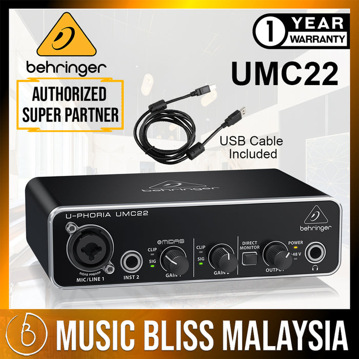 Behringer Audiophile 2x2 USB Audio Interface with Midas Mic Preamplifier (UMC22) *Crazy Sales Promotion* - Music Bliss Malaysia