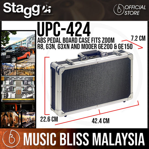 Stagg UPC-424 ABS Pedal Board Case fits Zoom R8, G3n, G3Xn and Mooer GE200 & GE150