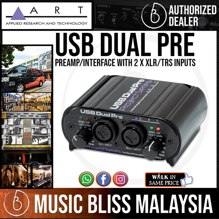 ART USB Dual Pre USB Preamp/Interface with 2 x XLR/TRS Inputs, 2 x TRS Outputs (USBDualPrePS)