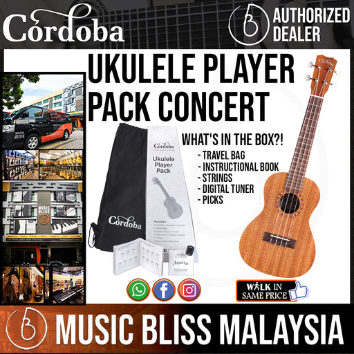 Cordoba Concert Ukulele Player Pack - Mahogany Top, Mahagony Back & Sides with Gig Bag, Instructional Book, and Strings - Music Bliss Malaysia