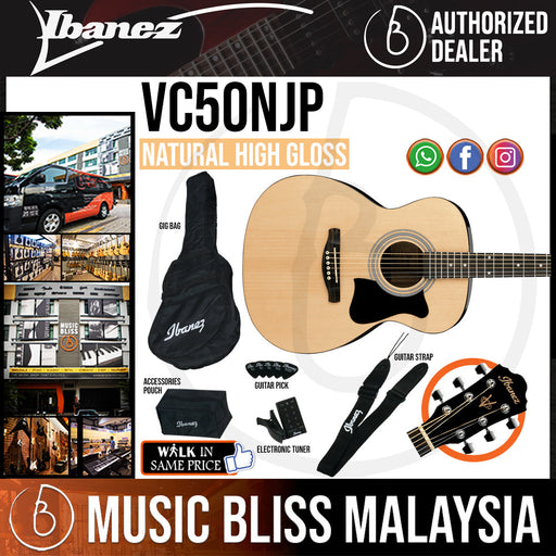 Ibanez VC50NJP Acoustic Guitar Jampack - Natural High Gloss (VC50NJP-NT) - Music Bliss Malaysia