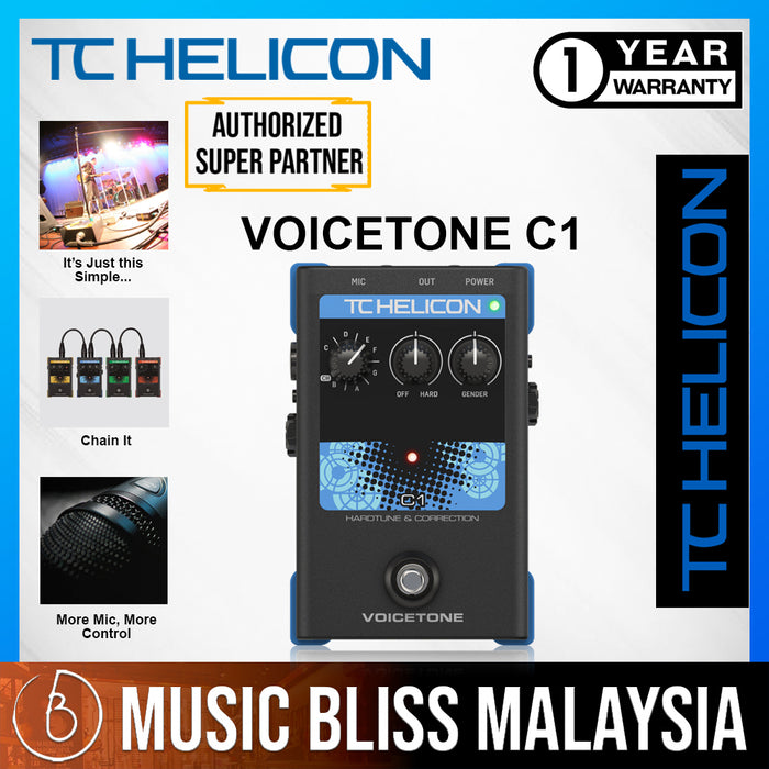TC-Helicon VoiceTone C1 Pitch Correction Vocal Effects Pedal - Music Bliss Malaysia