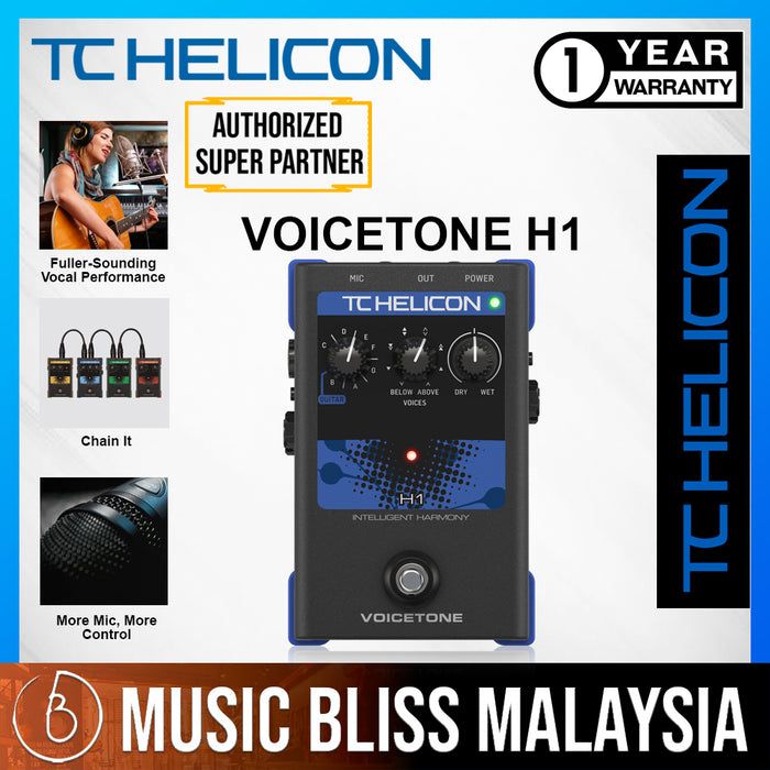 TC-Helicon VoiceTone H1 Intelligent Harmony Vocal Effects Pedal - Music Bliss Malaysia