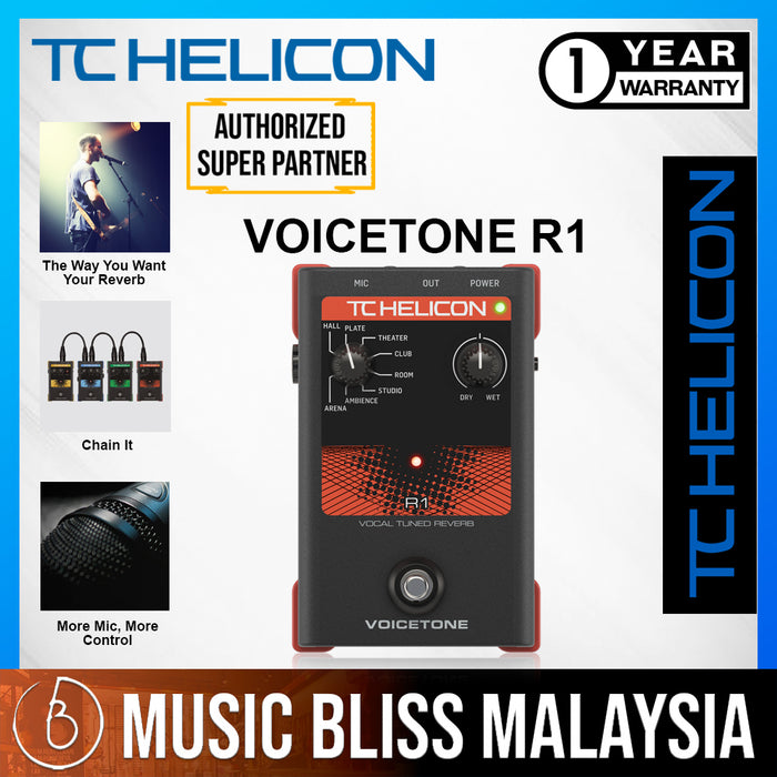 TC-Helicon VoiceTone R1 Reverb Vocal Effects Pedal - Music Bliss Malaysia