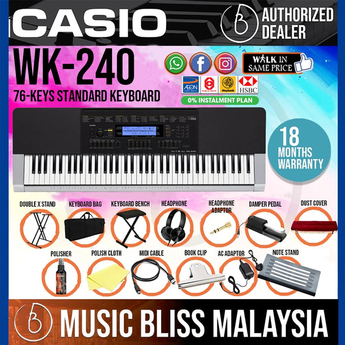 Casio WK-240 76-Keys Standard Keyboard 13 in 1 Premium Package (WK240 / WK 240) *Crazy Sales Promotion* - Music Bliss Malaysia