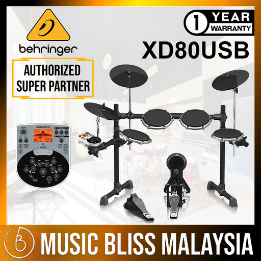 Behringer XD-80USB 5-piece Electronic Drum Set with Headphone, Drum Stool, Drumsticks (XD80USB) *Crazy Sales Promotion* - Music Bliss Malaysia