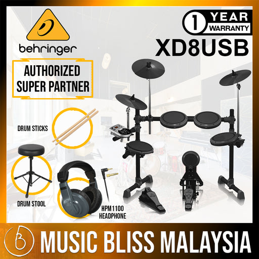 Behringer XD-8USB 5-piece Electronic Drum Set with Headphone, Drum Stool and Drumsticks (XD8USB)* Crazy Sales Promotion * - Music Bliss Malaysia