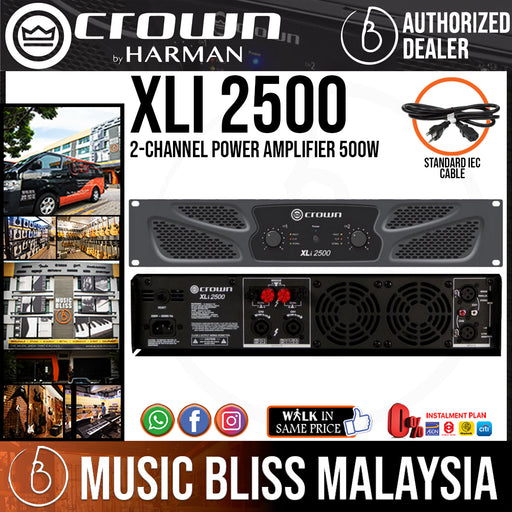 Crown XLi 2500 2-channel Power Amplifier, 500W @ 8Ω (XLi2500) *Crazy Sales Promotion* - Music Bliss Malaysia