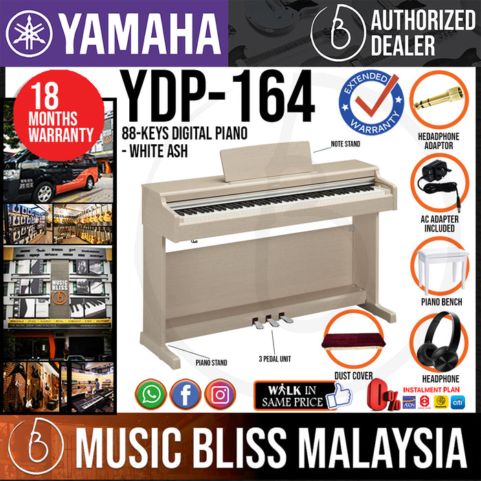 Yamaha Arius YDP-164 88-Keys Digital Piano with Headphone and Bench - White Ash (YDP164 / YDP 164) *Crazy Sales Promotion* - Music Bliss Malaysia
