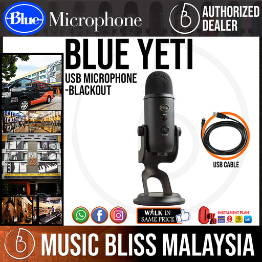 Blue Yeti USB Microphone (Blackout Edition) - Music Bliss Malaysia