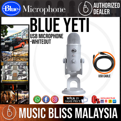 Blue Yeti USB Microphone (Whiteout) - Music Bliss Malaysia