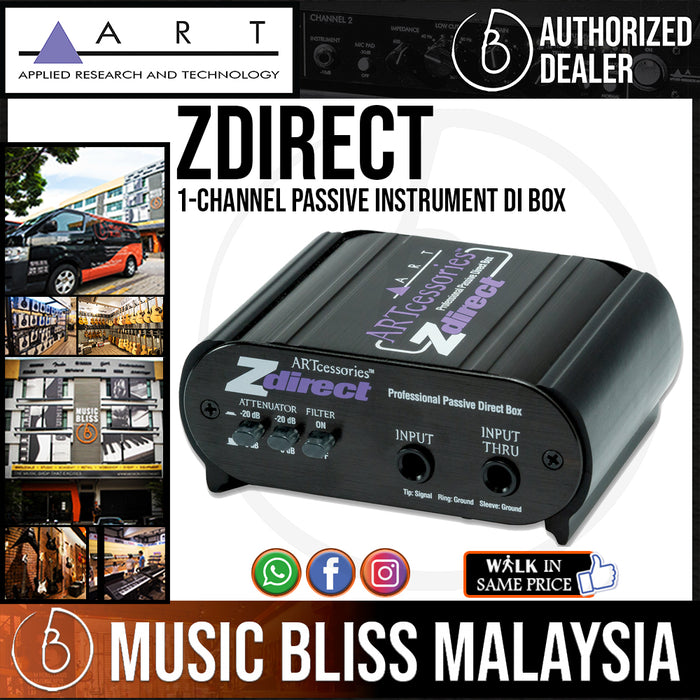 ART ZDirect 1-channel Passive Instrument DI Box For Active Instruments (Acoustic, Electric & Bass) *Price Match Promotion* - Music Bliss Malaysia