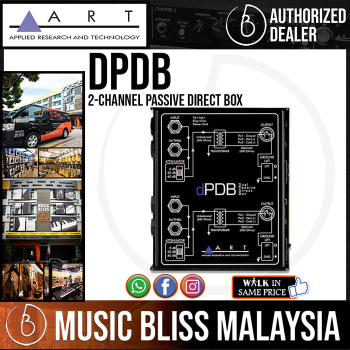 ART dPDB 2-channel Passive Direct Box with Low Noise, Input Attenuation, and Ground Lift Switches *Price Match Promotion* - Music Bliss Malaysia