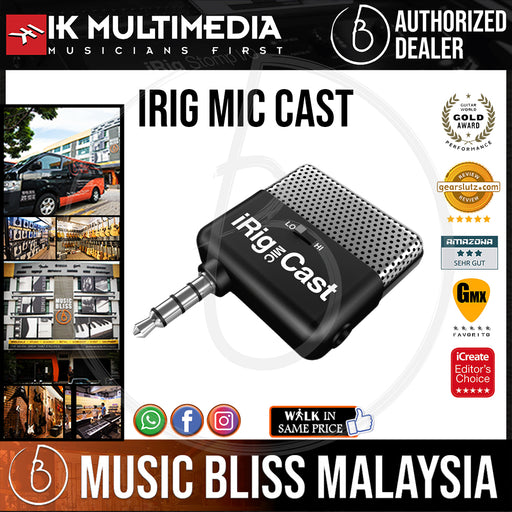 IK Multimedia iRig Mic Cast Ultra Compact Voice Recording Microphone for iOS and Android Devices