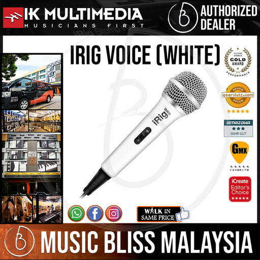 IK Multimedia iRig VOICE Handheld Microphone for iOS and Android Devices (White)