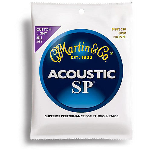 Martin MSP3050 Bronze Acoustic Guitar Strings, Custom Light, 80/20 011-052 - Music Bliss Malaysia