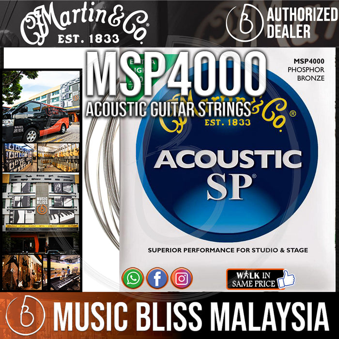 Martin MSP4000 SP Acoustic Guitar Strings Phosphor, Extra Light, 92/8 010-047 - Music Bliss Malaysia