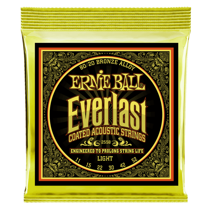 Ernie Ball 2558 Light Everlast Coated 80/20 Bronze Acoustic Strings (11-52) - Music Bliss Malaysia