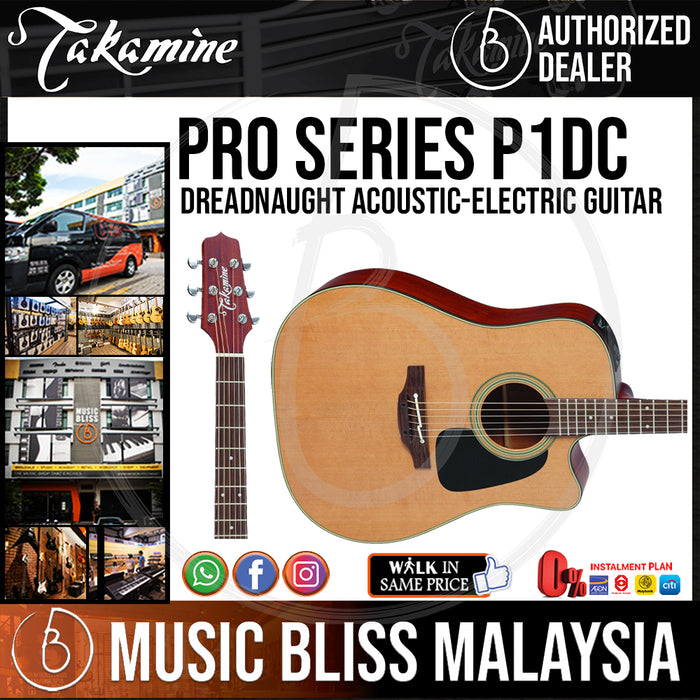Takamine P1DC - (Natural Satin) 6-string Acoustic-electric Guitar with Cedar Top - Music Bliss Malaysia